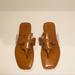 Tory Burch Leather Tan Clear Vinyl Sandals
